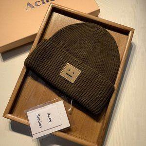 Acne Studios Rib Knit Beanie Hat Blush Dark Brown